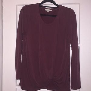 Maroon long sleeved casual blouse